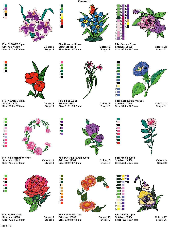 Summer Flowers Machine Embroidery Designs Set