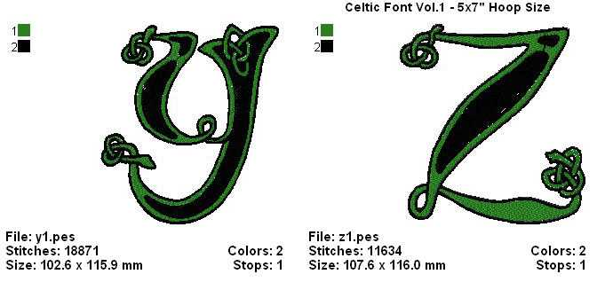 THERE ARE 26 BEAUTIFUL ALL ORIGINAL MACHINE EMBROIDERY CELTIC FONT DESIGNS